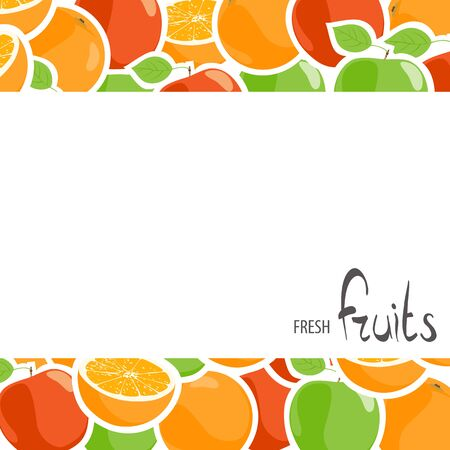 apples and oranges: Tasty apples and oranges with place for an inscription on a white background