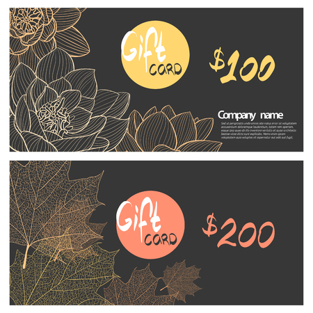 cosily: Autumnal flowers and leaves on a dark background Illustration