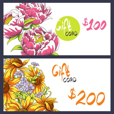 spring bed: bright peonies and sunflowers gift card