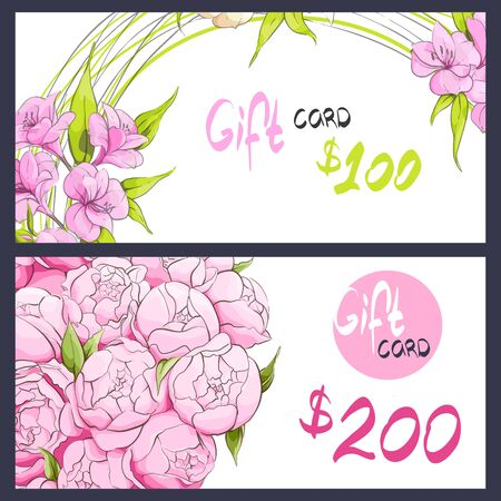 tenderness: Pink peonies and alstroemeria on the gift card Illustration