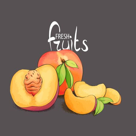 fragrant: Juicy and fragrant peach with a stone on a black background