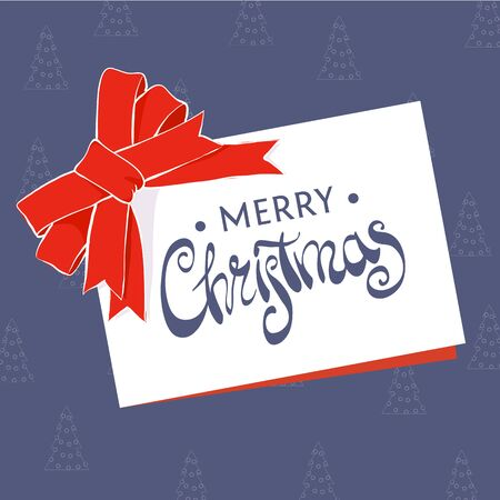 greeting card that says Merry Christmas on a blue background  イラスト・ベクター素材
