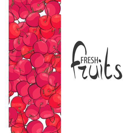 Tasty berry cherry on a white background with a delightful place for your inscription