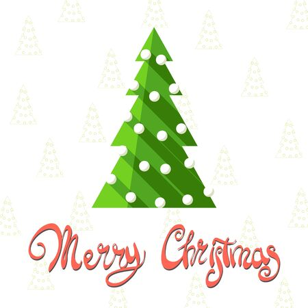 bright christmas tree: Bright Christmas tree on snowy background with the words Merry Christmas Illustration