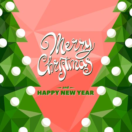 title emotions: Christmas tree with a beautiful inscription Merry Christmas and Happy New Year on red background