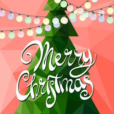 Árbol de Navidad decorado con guirnaldas multicolores sobre un fondo rojo con la inscripción Feliz Navidad Ilustración de vector