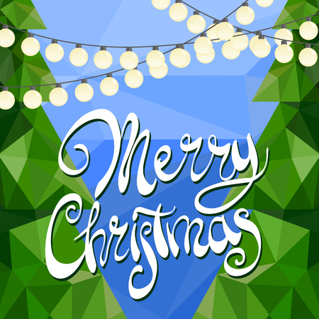 inscribed: Christmas trees with golden garlands on a blue background inscribed Merry Christmas Illustration