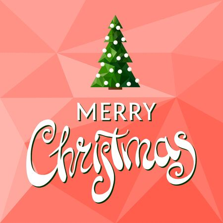 congratulating: Beautiful Merry Christmas lettering on a red background with a Christmas tree
