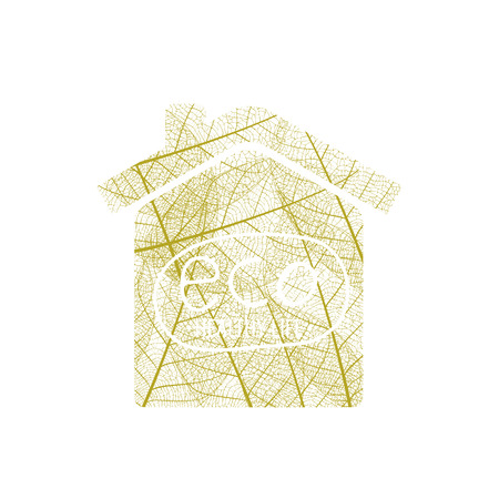 House of autumn leaves on a white background Illustration