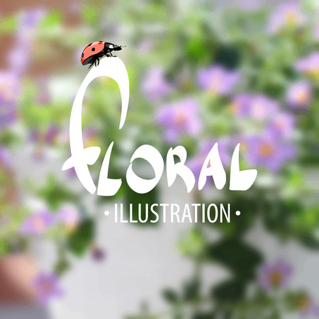untouched: Summer delightful floral background with ladybird, which is reminiscent of summer days Illustration