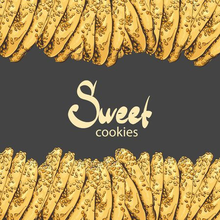 sesame seeds: Aromatic oatmeal cookies with sesame seeds on a black background with a place for an inscription Illustration