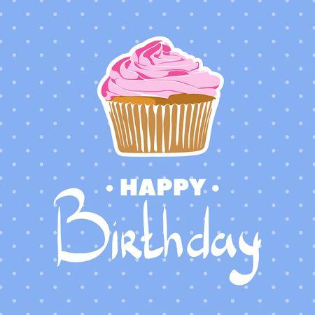 vanilla cupcake: Vanilla cupcake for the birthday on stylish blue background in peas Illustration