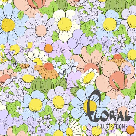 good mood: Beautiful summer flowers on a sunny day Illustration