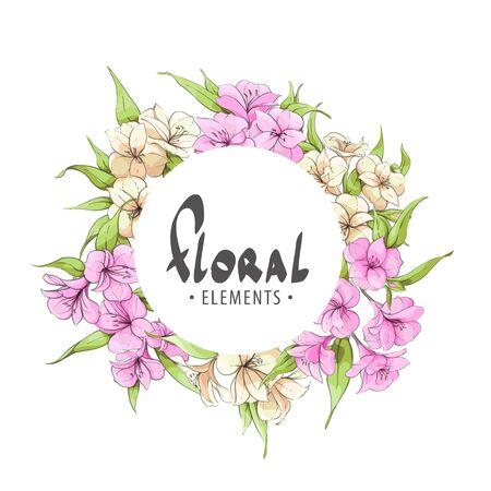 beloved: Flower frame with gentle flowers on a white background for the beloved Illustration