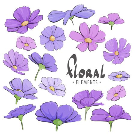 Field of purple flowers on a white background with a place for an inscription Illustration
