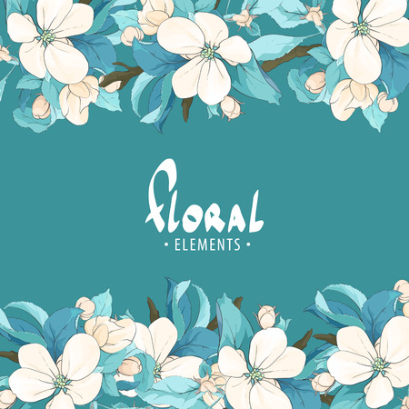 fragrant: fragrant cherry on a bright blue background with place for your inscription Illustration