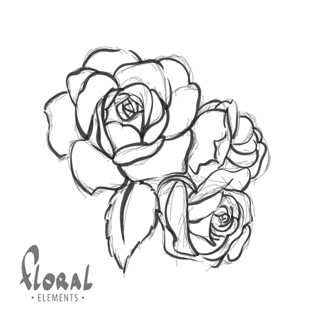 colorize: Roses on a white background with the ability to colorize
