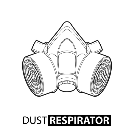 respirator: Outline multi-purpose respirator mask on white