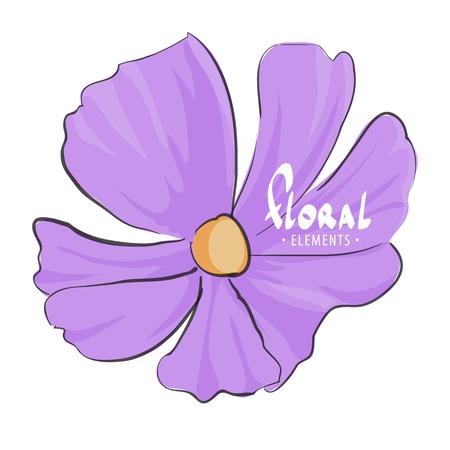macro flowers: Vector flower on white background Illustration