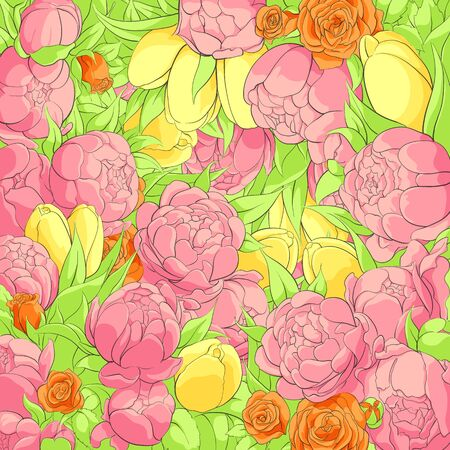 goodly: Bright floral background with peonies, roses and tulips