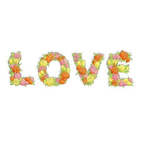 marvellous: Romantic bright word Love from flowers