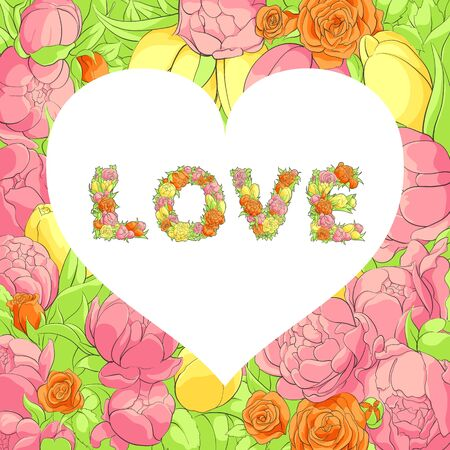 goodly: Bright valentine postcard with floral word love and white heart