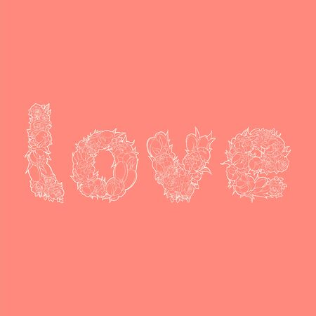 goodly: White word love from flowers on red background Illustration