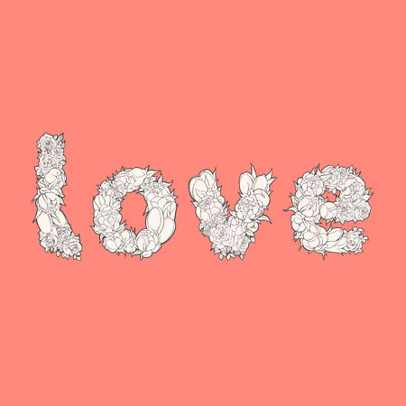 marvellous: White word love from flowers on red background Illustration