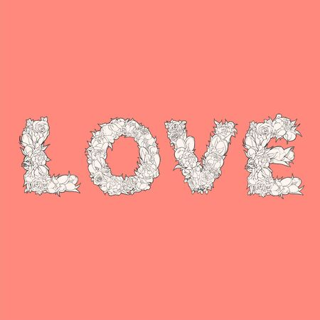 delectable: White word love from flowers on red background Illustration