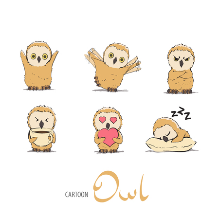 owlet: Cute owlet set on white background