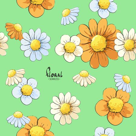 Bright beautiful floral seamless background