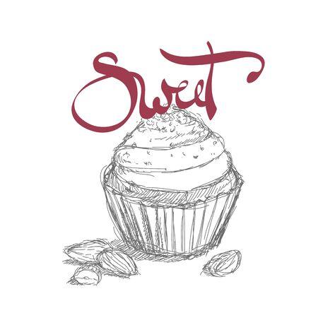 buttercream: Bright sweet tasty illustration of cupcake Illustration