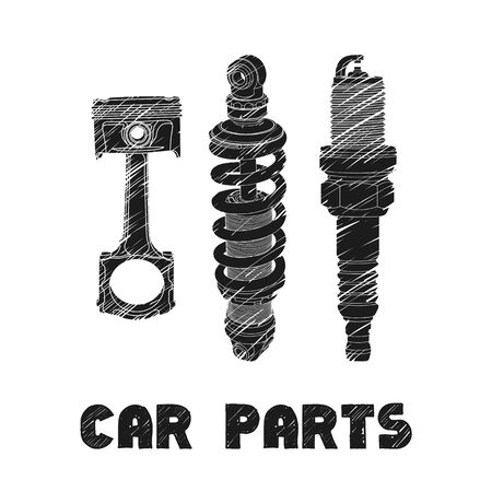 metal parts: Hand drawn car parts on white background