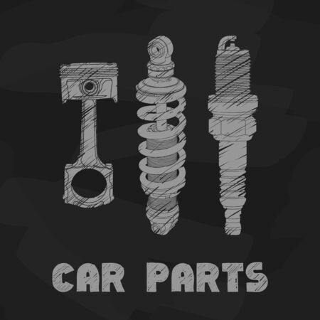 metal parts: Hand drawn car parts on black background