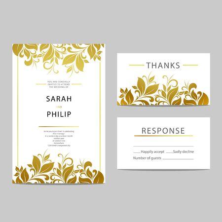 Plantilla de tarjeta de invitación de la boda floral brillante Ilustración de vector