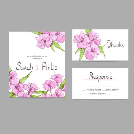 creative beauty: Bright floral wedding invitation card template