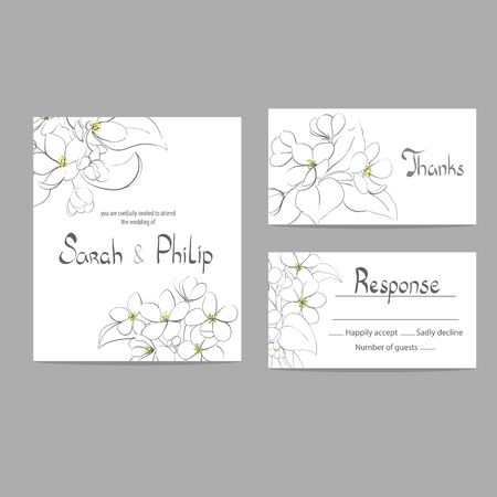 appletree: Bright floral wedding invitation card template