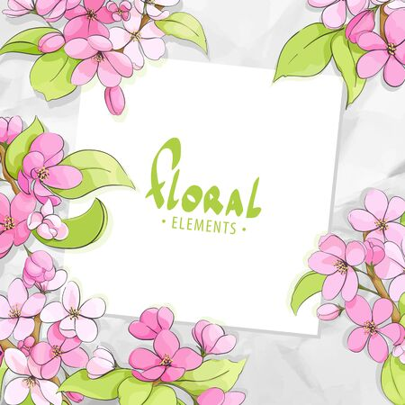 crumple: Bright floral template with crumpled paper on background