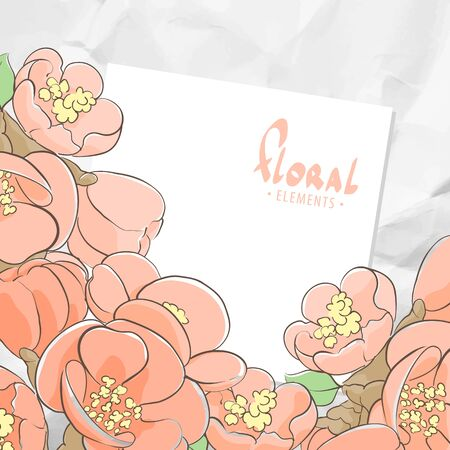 appletree: Bright floral template with crumpled paper on background