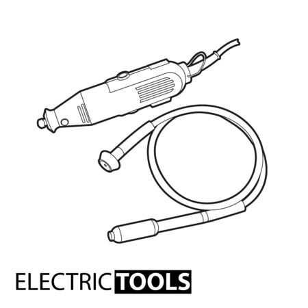 perforator: Outline electric drill on white background