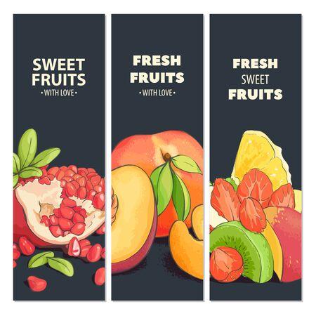 nectarine: Bright fruit fresh cards with dark background