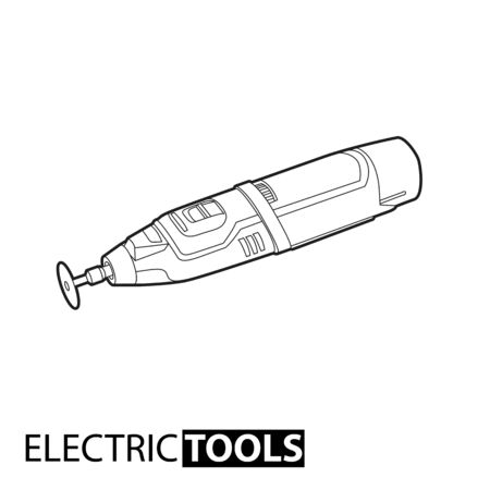 hole puncher: Outline electric drill on white background