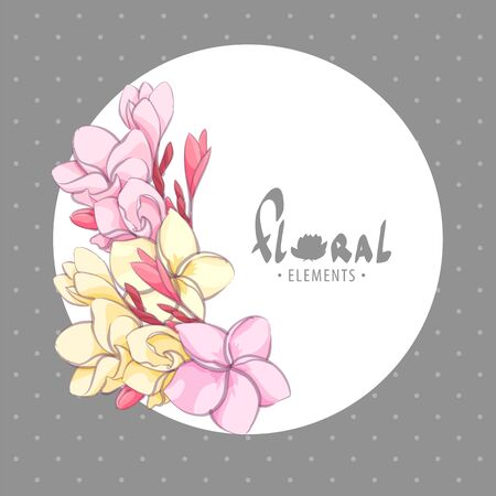 Floral illustration with some flowers in white circle Illustration