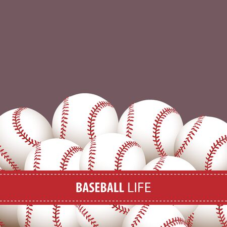 sports activity: Bright baseball background with some balls Illustration