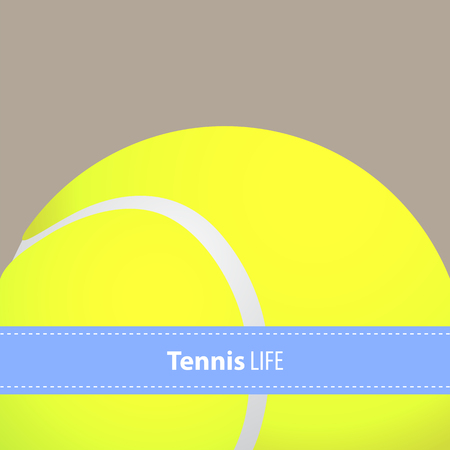 sports activity: Yellow tennis ball background with copy space Illustration