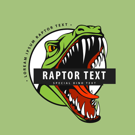 A Logo with a raptor on a green background for your work from the designers exclusive collection. Ilustração