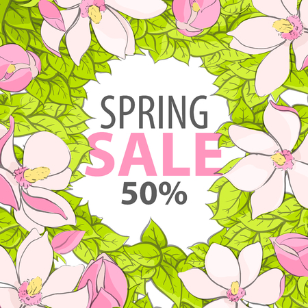 Poster with an inscription about the spring sale decorated with bright flowers and juicy foliage to attract the attention of customers Illustration