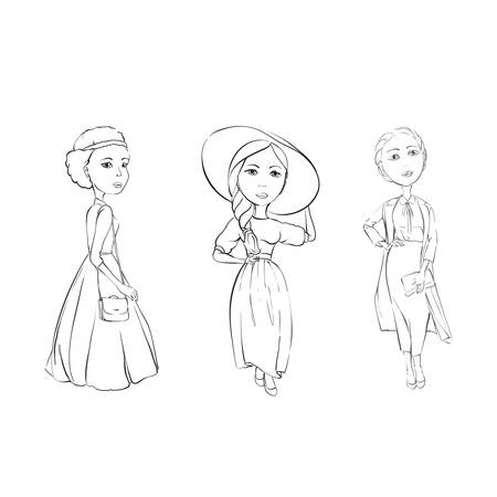 Girls model appearance on a white background from the personal collection of the designer Illustration