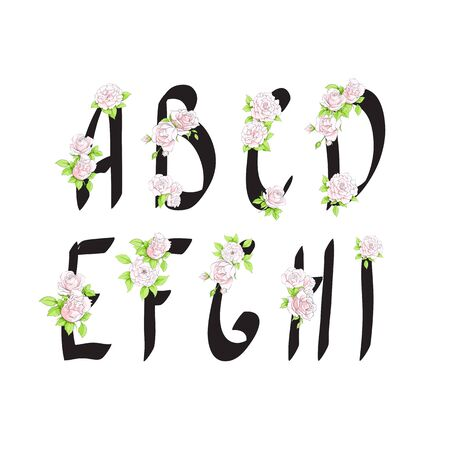 English letters with white roses