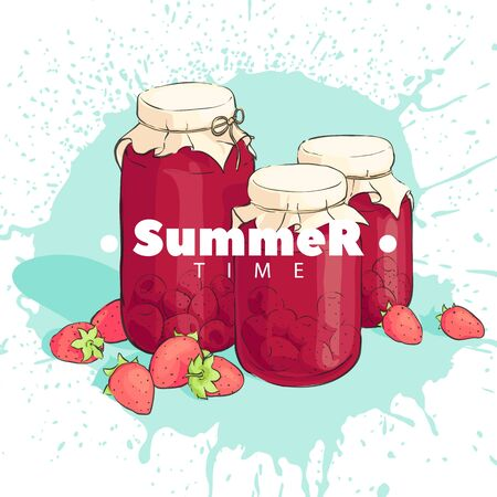 Strawberry juice in a jar on a white background